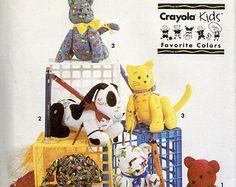 Simplicity 7552 Crayola Kids Jointed Cat Hound Dog Bear Stuffed Animals Pattern Graduation Hospital Autograph Toy