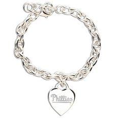 Philadelphia Phillies Heart Charm Bracelet. Dallas Cowboys, Houston Texans, Denver Broncos, Pittsburgh Steelers, Pittsburgh Pirates, Philadelphia Phillies, Pittsburgh Penguins, Jewelry Box, Jewelry Bracelets