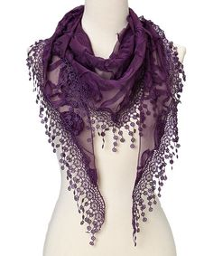 Take a look at this Purple Flower Lace Silk-Blend Scarf on zulily today!