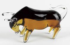 """Art Glass Bull L8X4"""" J409"""