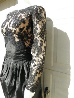 WILLIAM PEARSON Vintage Black Lace Illusion by ManeaterVintage, $69.00 vintage shopping indian cotton gauze hippie bohemian boho dress sequin etsy shop summer spring fashion trends party prom glamorous festival concert