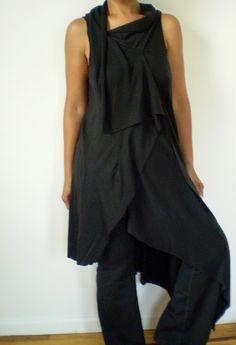 Asymmetrical Hem Tunic Tops | Long Black Asymmetrical Tunic Top with long hem on one side,fabric ...
