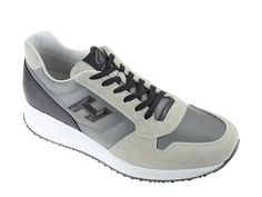 Hogan Interactive in beige suede with fabric - Italian Boutique Men's Sneakers, Shoes Outlet, Nike Huarache, Shoe Brands, Designer Shoes, Men's Shoes, Commercial, Footwear, Beige