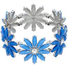 Blue Flower Stretch Bracelet ($14) ❤ liked on Polyvore featuring jewelry, bracelets, blue, blue bangles, flower jewellery, blue jewelry, stretch jewelry and blossom jewelry