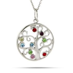 Silver family tree birthstone necklace with diamond birthstone customize your own family tree with this custom birthstone family tree pendant add up to aloadofball Choice Image