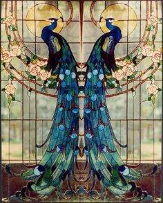 Art Nouveau - Vitrail 'Paons' - Tiffany