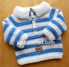 fjc122-Collared Sweater Baby Crochet Pattern   Craftsy