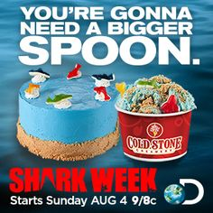 Love #SharkWeek and #ColdStone? Try our new Shark Week Frenzy Creation or our This Cake Bites cake. Available for a limited time only in U.S. locations.