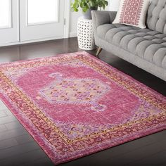 Hali-House Distressed Persian Vintage Pink Rug (2' x 3') (Pink), Size 2' x 3' (Polyester, Oriental)