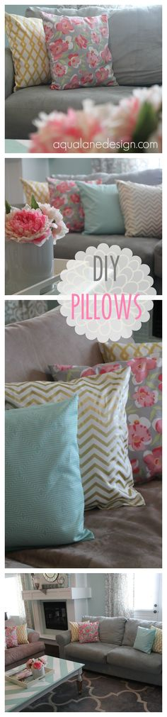 Add some color & pattern to any room with these fabulous DIY pillows! Step-by-step instructions to get this look on aqualanedesign.com