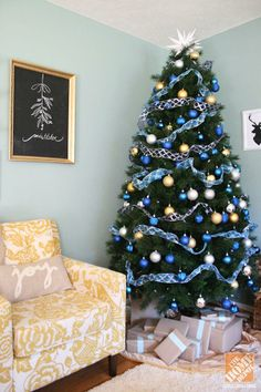Christmas Decorating: A Blue & Gold Christmas Tree and Chalkboard Holiday Message