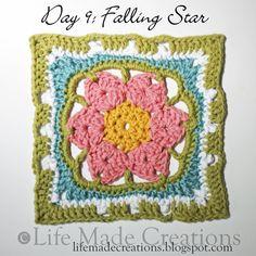 Day 9: Falling Star block free crochet pattern on Life Made Creations at http://lifemadecreations.blogspot.com/2011/05/bit-of-monday-randomness.html