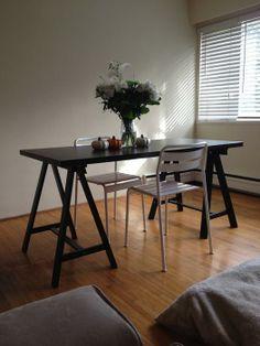 $50·Ikea Desk with sawhorse legs