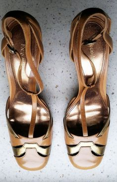 Enzo Angiolini gold and camel cutout t-strap pumps, size 10 in Clothing, Shoes & Accessories, Women's Shoes, Heels   eBay