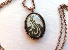 ooak pendant necklace with original art sealed under glass