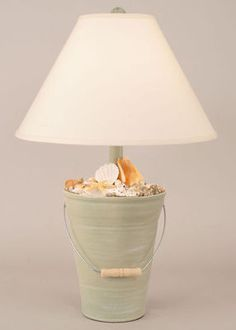 Green Beach Bucket Shell Lamp
