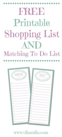 Printable Shopping List - fits on back of shopping trip envelope - printable shopping list