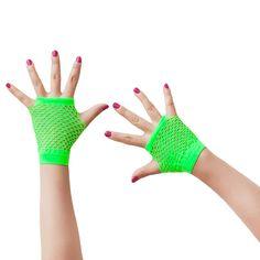 Netzhandschuhe kurz fingerlos Party Karneval Fasching - neon grün in Feierlichkeiten / Anlässe   • Karneval Fasching Party • Handschuhe