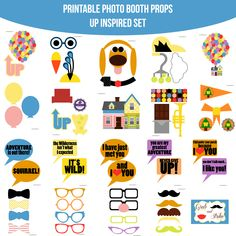 disney up printables Second Birthday Ideas, Birthday Fun, Party Props, Party Themes, Party Ideas, Balloon Clusters, Up Pixar, Diy Photo Booth Props, Photobooth Props Printable