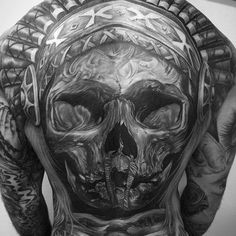 Tribal Indian Skull Full Back Tattoo Designs - Best Back Tattoos For Men: Cool Back Tattoo Designs For Guys - Men's Upper, Lower, Full Back Tattoo Ideas Small Back Tattoos, Cool Back Tattoos, Back Piece Tattoo, Pieces Tattoo, Top Tattoos, Lower Back Tattoos, Sleeve Tattoos, Tattoos For Guys Badass, Back Tattoos For Guys