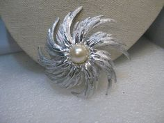 """Vintage Sarah Coventry Spiral Brooch,  Blossom, Faux Pearl, 1960's, 3"""""""