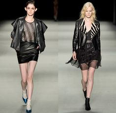 Saint Laurent 2014 Spring Summer Womens Runway Collection - Paris Fashion Week - Mode à Paris - Jean Jacket Motorcycle Biker Leather Robe Ki...
