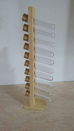 Porta temperos vertical 10 tubos dourada