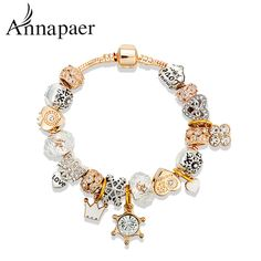Annapaer Venda Quente Banhado A Ouro Da Coroa Encantos Pulseiras Moda Amor Beads fit Pan Pulseiras & Bangles Mulheres Jóias B16090