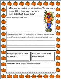 Fall-themed 3 digit subtraction story problems. Students solve, explain how they solve using key math vocab, round to nearest hundred, write a number sentence, and write a fact family for each page. Answer sheets are included for self-checking.