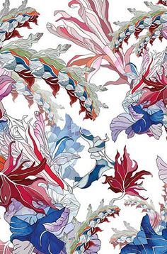 Meng print close-up - Red Flower multi