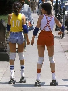 "Towards the later 70's, things got a bit more sporty. This look is kind of like ""Little boy whore,"" with its primary colors, knee socks, and suspenders. They did have hip-hugging, low waisted styles in the 60's and 70's, but the majority of pants were what would now be called ""high waisted."""