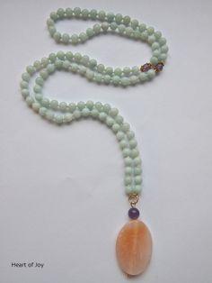 Amazonite Mala Beads - amazonite beads amethyst marker stones agate guru bead