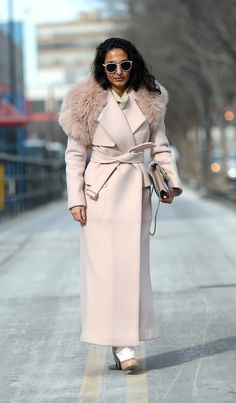 pale rose coat. #NYFW