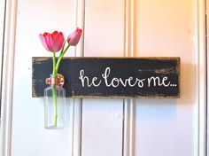 Hanging Wall Flower Vase Antique Bottle He Loves Me by three1seven, $39.95