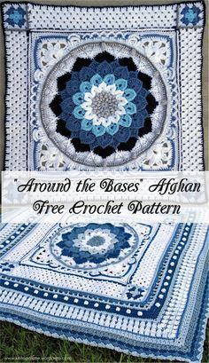 """[Free Crochet Pattern] """"Around the Bases"""" Afghan #crochet #freepattern #crochetpattern #motif"""