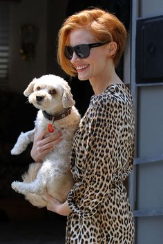 short and asymmetrical and graduated bob - jessica chastain