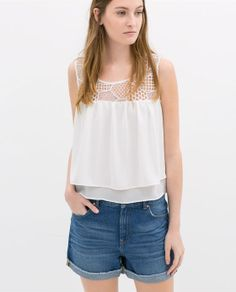 ZARA - WOMAN - COMBINED GUIPURE LACE TOP