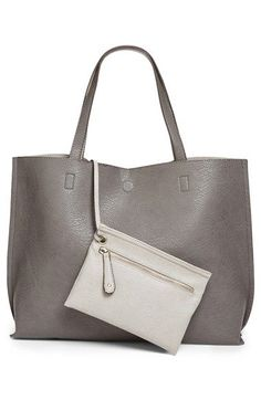 Street Level Reversible Faux Leather Tote & WristletColored faux leather flips inside-out for a reversible tote with unlimited styling options. Avon, Vegan Leather, Leather Bag, Grey Leather, Leather Crossbody, Crossbody Bag, Junior, Beautiful Bags, Beautiful Outfits