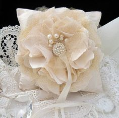 Shabby Chic RING BEARER PILLOW - One of a kind Wedding Heirloom Keepsake £19.50 from My Vintage Chic at Folksy