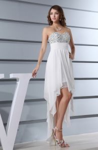 White Beading Sweetheart High-low Prom Dress - $136.58