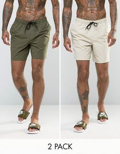 Buy ASOS DESIGN 2 pack swim shorts 2 pack in khaki & stone mid length save at ASOS. With free delivery and return options (Ts&Cs apply), online shopping has never been so easy. Get the latest trends with ASOS now. Short Kaki, Style Brut, Dope Outfits For Guys, Mens Swim Shorts, Men's Shorts, Men's Swimsuits, Mi Long, Mens Clothing Styles, Summer Outfits