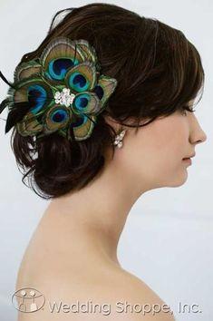Sara Gabriel Bridal Headpiece Sandra Clip from the Wedding Shoppe, http://www.weddingshoppeinc.com #peacock #feathers #headpiece #wedding #hairstyle #updo