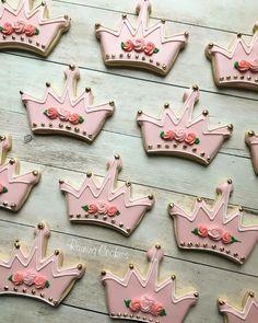 Princess crown birthday cookies by Raining Cookies