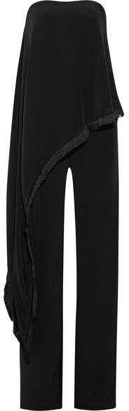 Adam Lippes - Fringe-trimmed Crepe And Silk-satin Jumpsuit - Black