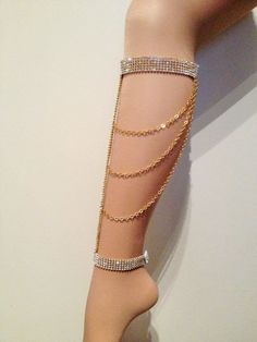 Gold Glamchain Leg Jewelry  Body jewelry  by SinsationJewelry, $45.00 barefoot sandal:
