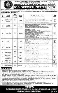 Jobs in Punjab Daanish School Mianwali 26 Feb 2018 Jang Newspaper
