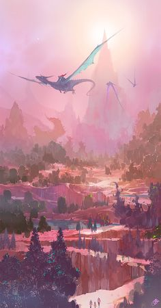 The Art Of Animation, Fantasy Art, Dragon Rider Fantasy Places, Fantasy World, Fantasy Landscape, Landscape Art, Fantasy Creatures, Mythical Creatures, Fantasy Kunst, Anime Scenery, Dragon Art