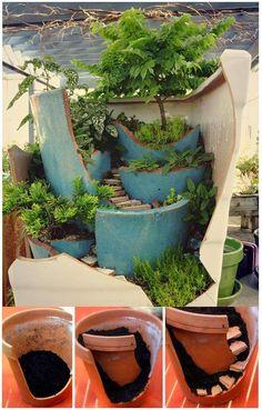 Broken Pots Turned into Beautiful Fairy Gardens