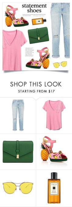 """""""Pineapple"""" by marina-volaric ❤ liked on Polyvore featuring Current/Elliott, Gap, Mundi, Dolce&Gabbana, Jo Malone and statementshoes"""