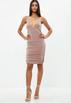 Nude Metallic Slinky Cross Back Ruched Dress